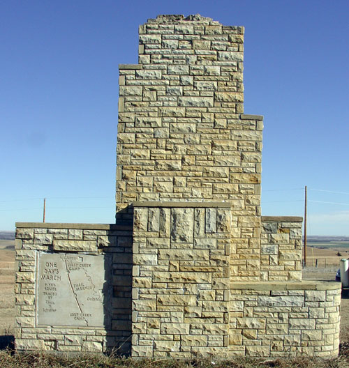 Back - Pike Monument in Kansas, near the town of Delphos. Pike was in this area on Sept. 22, 1806.
