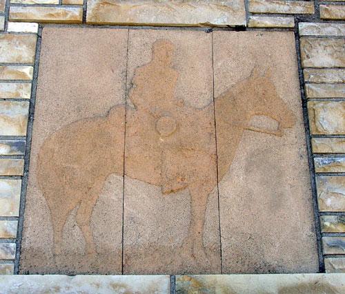 Close-Up Detail - Pike on Horseback on Stone Monument