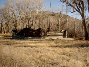 This modern reproduction of the stockade now stands on the site.
