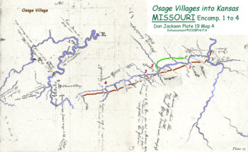 Map 4 (Field 19)- Approaching the Osage Villages (Jackson Plate 19)