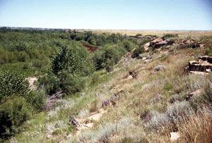 Pike's party was forced from the river bottom up these bluffs. From this elevation a short distance from here, he first sighted what would become Pikes Peak.