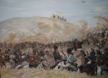 "You can find this painting at the Pawnee Indian Village Museum near Republic, KS, operated by the Kansas State Historical Society. The painting, titled ""Uncertain Welcome"" by Darrell Combs, represents the Pawnees meeting Pike's command at the Pawnee village near Guide Rock, Nebraska."